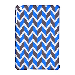 Zigzag Chevron Pattern Blue Grey Apple Ipad Mini Hardshell Case (compatible With Smart Cover)