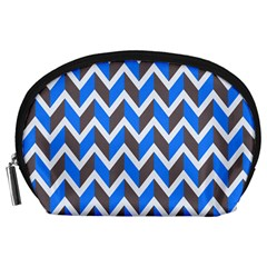 Zigzag Chevron Pattern Blue Grey Accessory Pouch (large)