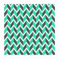 Zigzag Chevron Pattern Green Grey Medium Glasses Cloth (2 Side)