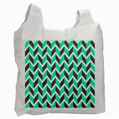 Zigzag Chevron Pattern Green Grey Recycle Bag (two Side) by snowwhitegirl