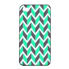 Zigzag Chevron Pattern Green Grey Apple Iphone 4/4s Seamless Case (black)
