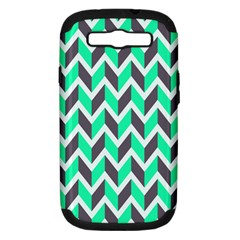 Zigzag Chevron Pattern Green Grey Samsung Galaxy S Iii Hardshell Case (pc+silicone)