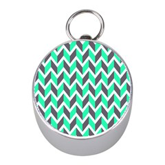 Zigzag Chevron Pattern Green Grey Mini Silver Compasses