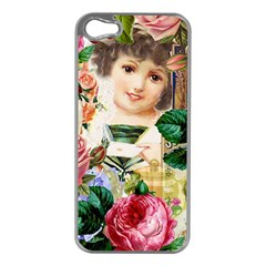 Little Girl Victorian Collage Apple Iphone 5 Case (silver)