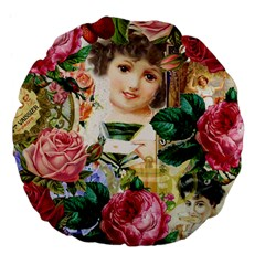 Little Girl Victorian Collage Large 18  Premium Flano Round Cushions
