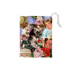 Victorian Collage Drawstring Pouch (small) by snowwhitegirl