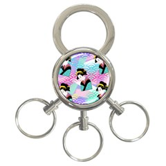 Japanese Abstract 3 Ring Key Chains