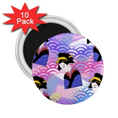 Japanese Abstract Blue 2 25  Magnets (10 Pack)