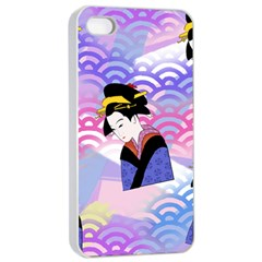 Japanese Abstract Blue Apple Iphone 4/4s Seamless Case (white)