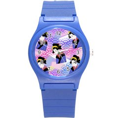 Japanese Abstract Blue Round Plastic Sport Watch (s) by snowwhitegirl