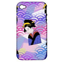 Japanese Abstract Blue Apple Iphone 4/4s Hardshell Case (pc+silicone)