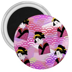Japanese Abstract Pink 3  Magnets