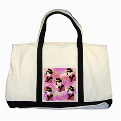 Japanese Abstract Pink Two Tone Tote Bag by snowwhitegirl