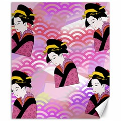 Japanese Abstract Pink Canvas 8  X 10