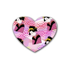 Japanese Abstract Pink Rubber Coaster (heart)