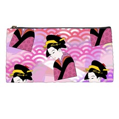 Japanese Abstract Pink Pencil Cases by snowwhitegirl