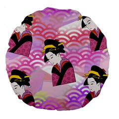 Japanese Abstract Pink Large 18  Premium Round Cushions