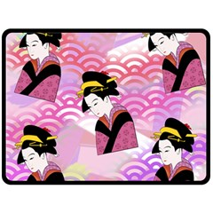 Japanese Abstract Pink Double Sided Fleece Blanket (large)