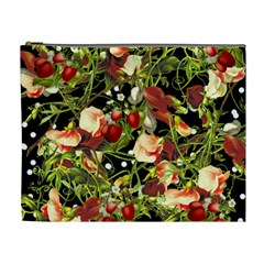 Fruit Blossom Black Cosmetic Bag (xl)