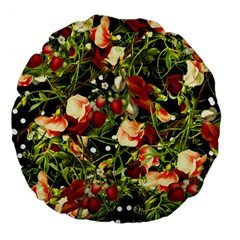 Fruit Blossom Black Large 18  Premium Flano Round Cushions