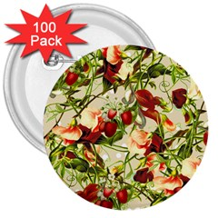Fruit Blossom Beige 3  Buttons (100 Pack)