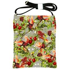 Fruit Blossom Gray Shoulder Sling Bag