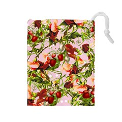 Fruit Blossom Pink Drawstring Pouch (large)
