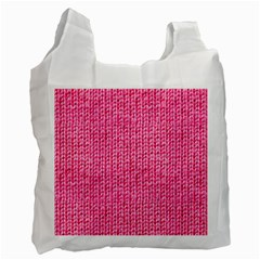 Knitted Wool Bright Pink Recycle Bag (two Side)