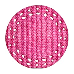 Knitted Wool Bright Pink Ornament (round Filigree)