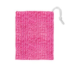 Knitted Wool Bright Pink Drawstring Pouch (large)