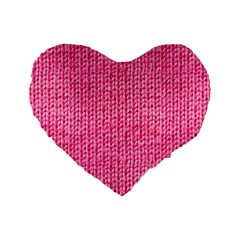 Knitted Wool Bright Pink Standard 16  Premium Flano Heart Shape Cushions