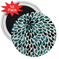 Teal Abstract Swirl Drops 3  Magnets (10 Pack)