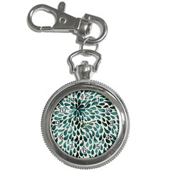 Teal Abstract Swirl Drops Key Chain Watches