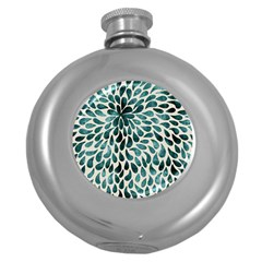 Teal Abstract Swirl Drops Round Hip Flask (5 Oz)