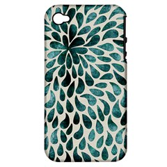 Teal Abstract Swirl Drops Apple Iphone 4/4s Hardshell Case (pc+silicone)