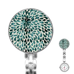 Teal Abstract Swirl Drops Stainless Steel Nurses Watch