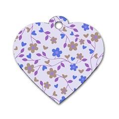 Blue Vintage Flowers Dog Tag Heart (one Side)