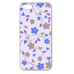 Blue Vintage Flowers Apple Seamless Iphone 5 Case (clear)