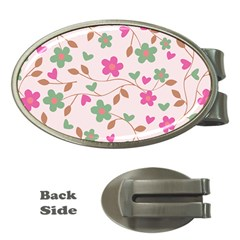 Pink Vintage Flowers Money Clips (oval)