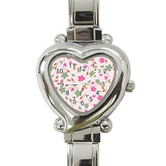 Pink Vintage Flowers Heart Italian Charm Watch