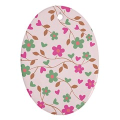 Pink Vintage Flowers Oval Ornament (two Sides)