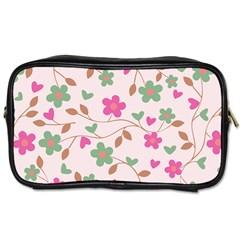Pink Vintage Flowers Toiletries Bag (one Side)