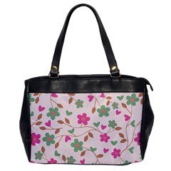 Pink Vintage Flowers Oversize Office Handbag
