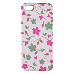 Pink Vintage Flowers Apple Iphone 5 Premium Hardshell Case