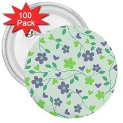 Green Vintage Flowers 3  Buttons (100 Pack)
