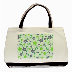 Green Vintage Flowers Basic Tote Bag (two Sides)