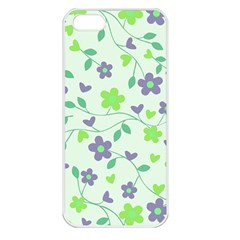Green Vintage Flowers Apple Iphone 5 Seamless Case (white)