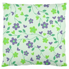 Green Vintage Flowers Standard Flano Cushion Case (two Sides)