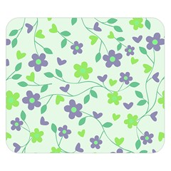Green Vintage Flowers Double Sided Flano Blanket (small)