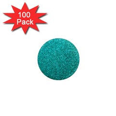 Aqua Glitter 1  Mini Magnets (100 Pack)